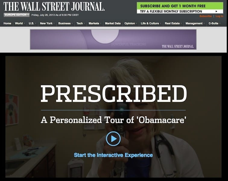 The Wall Street Journal Screenshot - Obamacare